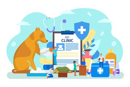 Pet veterinary clinic vector illustration. Cartoon flat tiny veterinarian people check, doctor character care animal in hospital. Vet clinical medical examination, healthcare concept isolated on white