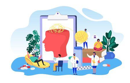 Ilustración de vector de psicología de enfermedad mental. Dibujos animados de personas pequeñas y planas con el paciente, el personaje del psicólogo comprueba la salud del cerebro. Diagnóstico, terapia, concepto de medicina de tratamiento aislado en blanco
