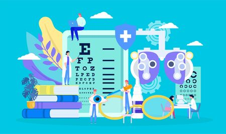 Ophthalmology, eye health vector illustration. Cartoon flat tiny myopia patient character on examination checkup, treatment by doctor ophthalmologist. Optometry medical healthcare concept background