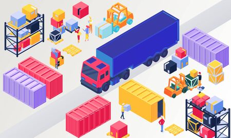 Isometric logistics, warehouse vector illustration. 3d people loading box in pallet, worker character packaging containers on trucks. Warehousing logistical service, wholesale distribution technology Illusztráció
