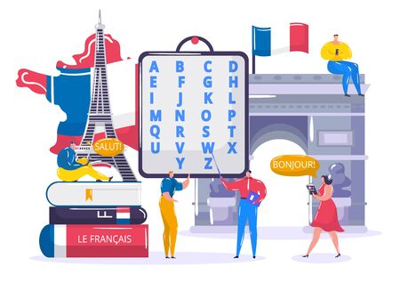Learning French language vector illustration. Cartoon flat tiny student people learn to understand French in school classroom, teacher character gives lesson. Education technology isolated on white Illustration