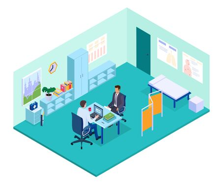 Isometric doctor office vector illustration. 3d physician character sitting at table, consulting patient in doctoral cabinet interior of hospital building. Medical consultation, healthcare medicine Stock Illustratie