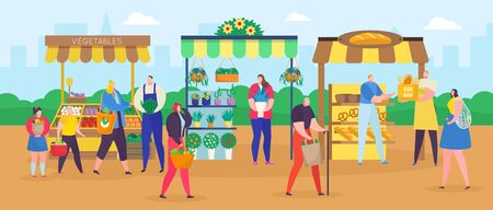 Street shop market vector illustration. Cartoon flat people shopping with shopper bag, woman man characters buying food, vegetables and flowers at outdoor marketplace. City summer fair background Stock Illustratie