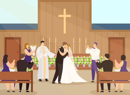 Wedding ceremony in church vector illustration. Cartoon happy couple characters getting married in chapel interior, flat groom, bride in white dress kissing. Wedding ceremonial celebration background Çizim