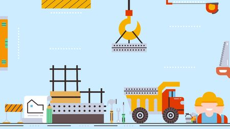 Construction process of building,construction crane transports a concrete block, real estate concept flat vector illustration. At the construction site, crane, excavator, engineers, tools, plan.