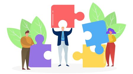 Three people connect colored puzzle pieces, concept of successful business, vector flat illustration. Men and women are holding puzzle elements in hands on a white isolated background. Male and female work as a team. Vektorgrafik