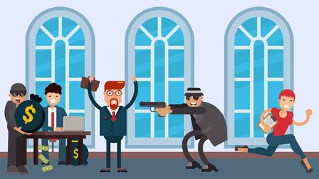Bank robbery, criminals in hats and glasses threaten with a pistol vector flat illustration. Two robbers attack visitors, man stands with his hands up, woman runs away. Theft in bank.