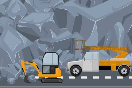 Couple vehicle clean highway from rock, rubble flat vector illustration. Alpine construction equipment remove natural blockage, technique mountain road work, winter route surface care.
