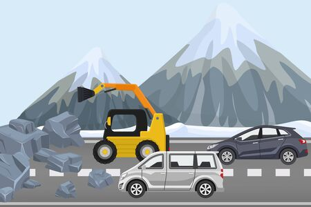 Clearing rubble on highway, construction equipment remove rock from road, flat vector illustration. Couple cars alpine winter traffic jam, technique mountain road work, route surface care.
