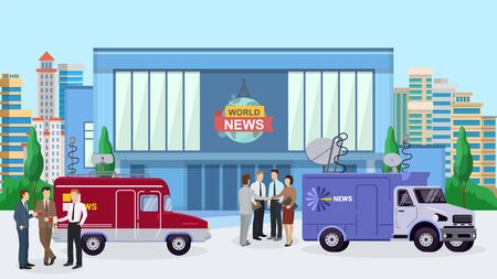 World news building, reporter standing near tv car, truck flat vector illustration. Design interviewer television information department on city background, office worker, news current events.