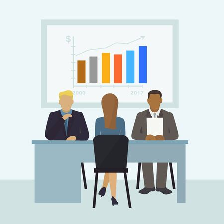 Worker conversation, character female, male on office get job, flat vector illustration. Finance company find new employee, infographic, business company job interview professional staff member.