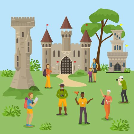 Group tourists excursion medieval ruins, people travel team explore european castle, flat vector illustration. Character people male, female walk with guide, photography west fortress. Illustration