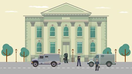 Cash transit guards vector illustration. Cartoon flat man characters in bulletproof vests standing near armored vehicle, car van before money transition from bank. Security system guarding background