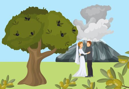 Lovely greece female, male pair wedding under tree flat vector illustration. Natural mountain landscape, volcano background. Lover couple woman, man get outdoor married, romantic place and time. Çizim