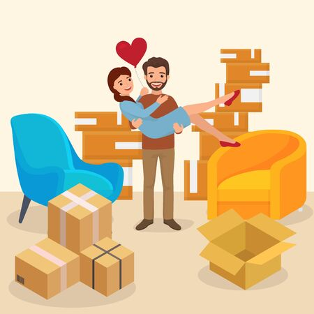 Young lovely family move new, romantic character couple buy house flat vector illustration. Delivery package stuff modern pair, cozy room with box chair. Male hold female wife air heart.