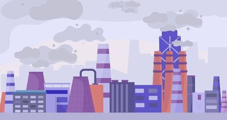 Industrial polluted city, urban scapes concept flat vector illustration. Factory area and plant, pollution of environment, damage to ecological surroundings, not eco friendly factory.
