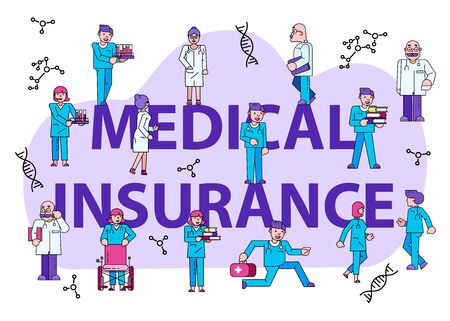 Medical insurance concept text banner isolated on white, flat vector illustration. Tiny character male female doctor save patient. Laboratory assistant conducts blood test, therapeutic professional.