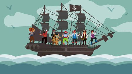 Pirate ship team trip on boat flat vector illustration. Character raider stay in wood yacht steering wheel. Robbery sea group bandit jolly roger flag, night travel vessel float ocean wave.