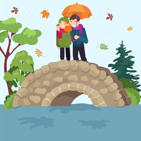 Lovely couple autumn date national forest park female male rest on rain bridge, people pair cheerfully standing flat vector illustration. Stone axle crossing cozy place romantic vacation.