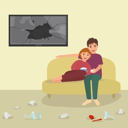 Lovely character pair, male female eat popcorn reconcile argument swearing vector illustration. Lover couple sitting after quarrel fight reconciliation peace. Destroyed television broken glass monitor