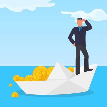 Drowning corrupt character male on white paper boat, stolen gold dollar coin flat vector illustration. Financial fraud scheme money extract criminal way, businessman sink cash stash, tax evasion.