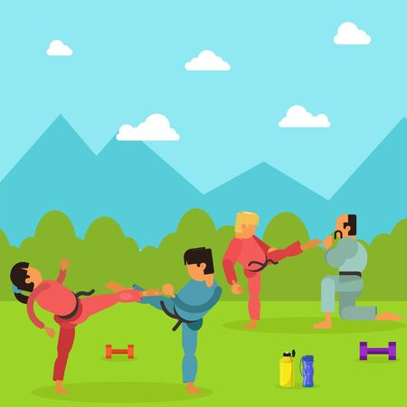 Karate training children character, martial art outdoor place exercise session flat vector illustration. National park area, male female health physical activity. Teach self defense combat skill.