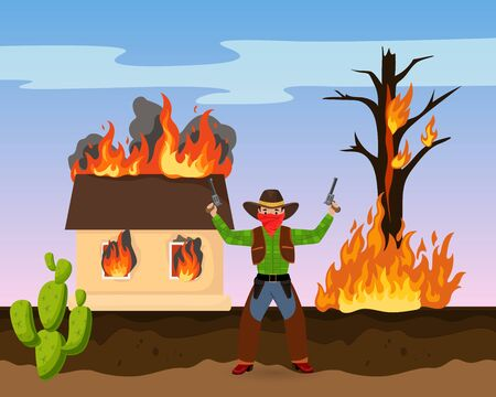 Western robber shot gun, house on fire attack ransack flat vector illustration. American wild west cactus, sheriff hunting bandit. Headhunter shoot into air after start conflagration.