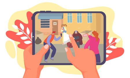 Street bullying teenagers, make online recording, hand hold mobile phone with video footage, isolated on white, flat vector illustration. Gangs harassment children, young people in city. Illustration