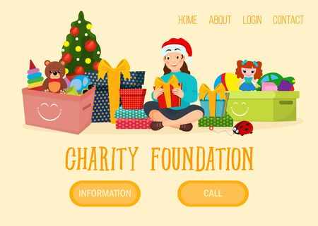 Christmas charity foundation web banner, character girl xmas present gift flat vector illustration. Button home about login contact. Young female donation present, charitable organization help person. Illustration