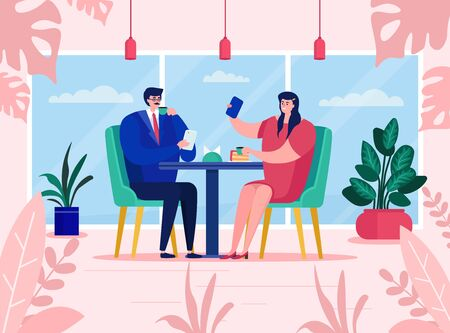 Couple use gadgets at cafe, vector illustration. Man woman character sitting table restaurant, romantic date. Girl make selfie, guy viewing content device. Digital communication, smartphone addiction. Иллюстрация