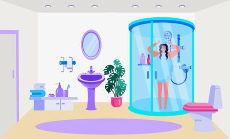 Bathroom interior, fixtures vector illustration. Home design, room with shower, toilet, sink and mirror. Fourniture for towel, sope and personal care products. Woman character in shower cabin.