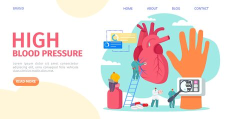 High blood pressure measuring, landing vector illustration. Cardiology disease, tonometer medical equipment. Doctor care hypertension, sick patient heart, prescribe medication to lower blood pressure.