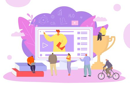 People online science education, vector illustration. Knowledge coureses from computer, didgital university. Man and woman student near large screen learning by specialist video information.