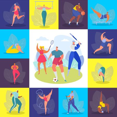 Sports people, training set vector illustration. Healthy hobby, profession and happy lifestyle. Athlete man woman character in different sport type, activity work, gym and outdoor.