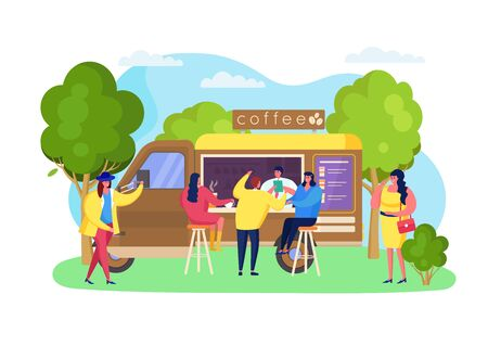 Street coffee truck at park, vector illustration. Beverage portable cafe, takeaway hot drinks cup, catering business. Man and woman leisure at bar stool near car, order favorite coffe at price list. Illustration