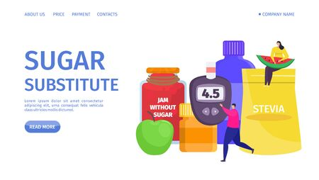 Sugar substitute, landing vector illustration. Bottles low calorie artificial sweetener. Man carry glucose meter to measure blood sugar. Woman sit on bank with stevia and hold slice watermelon.