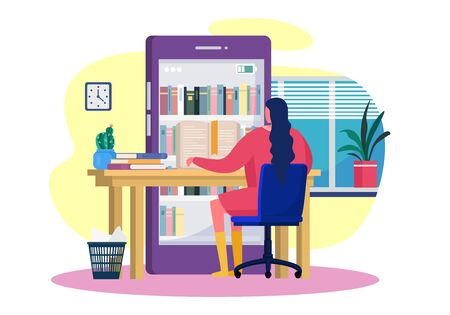 Reading books online, vector illustration. Smartphone library application, bookshelves in screen. Girl character learning at large electronic device, workplace with literature books.