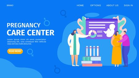 Pregnancy care center template webpage, vector illustration. Study appointment in special clinic for future parents. Doctor talks about child pregnant woman, husband. Childbirth medical course.
