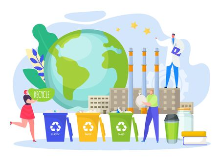 Recycle waste, help planet vector illustration. Eco friendly environment by garbage separation container, clean production. Man and woman throw garbage in special trash bin, global problem solution.