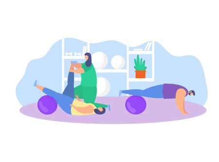 Physiotherapy rehabilitation assistance vector illustration. Cartoon flat patient character on physical rehabilitating therapy with physiotherapist doctor, sport exercise in gym icon isolated on white Vettoriali