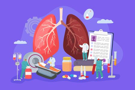 Lung cancer screening illness in hospital, concept vector illustration. Doctor perform MRI, patient lie in device. Physician examine large infected lung, nurse undergoes blood test in flask. Иллюстрация