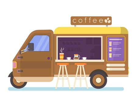 Street food truck set vector illustration. Cartoon flat van selling Chinese streetfood or pizza kebab in market, ice cream, coffee cocktail drink, vegan fastfood trucking icons isolated on white Illustration
