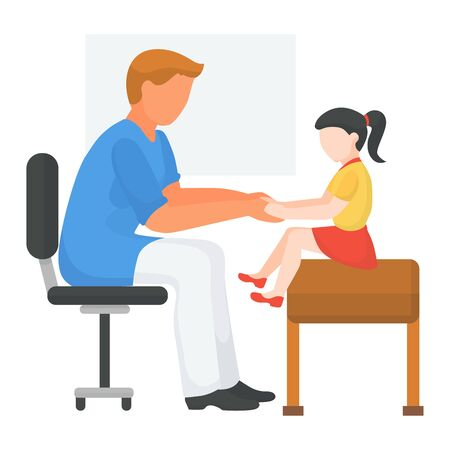 Doctor with child at hospital, health medical examination, vector illustration. Kid at physician appointment, patient treatment. Examine charcter illness at special clinic, girl sitting at couch.
