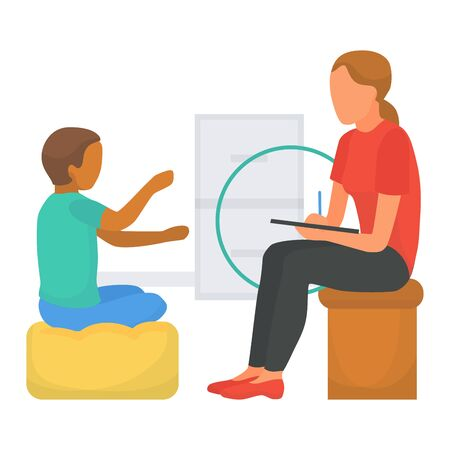 Doctor psychologist talking with child character, vector illustration. Medicine therapy for mental flat boy person health. Medical help, counseling kid patient problem, professional session.