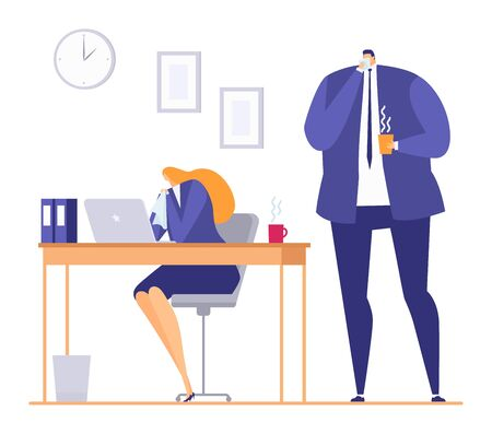 Sick person in office during seasonal flu cold, vector illustration. Ill woman at work, fever disease in cartoon workplace. Unwell feeling woman business worker have virus symptoms.