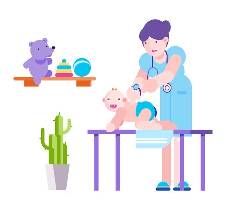 Baby examination, pediatrician doctor at hospital vector illustration. Child patient flat character medical check up on couch, pediatric health treatment. Woman cartoon physician with stethoscope. Vector Illustration