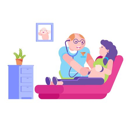 Doctor with stethoscope listen to pregnant woman abdomen, vector illustration. Pregnancy health care in hospital, check flat mother and baby in belly. Clinic professional cartoon examination.