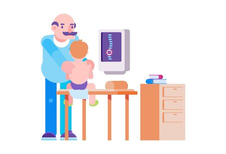 Doctor osteopath care about boy patient in hospital, vector illustration. Medical massage in clinic, spine checkup and treatment. Pediatrician male character cure little patient back on couch. Illustration