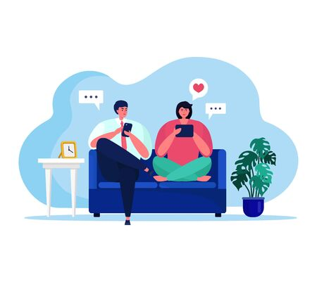 People with gadgets vector illustration. Cartoon flat happy couple characters sitting on sofa in room interior of home apartment, using tablet or smartphone for social media activity isolated on white Ilustracje wektorowe