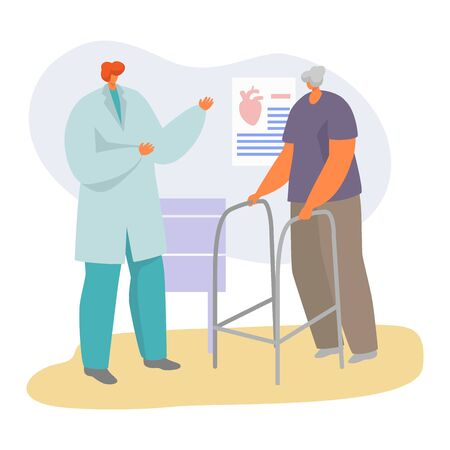 Patient on doctor appointment vector illustration. Cartoon flat senior character visiting cardiologist, old man on medical diagnostic consultation in hospital, elderly healthcare isolated on white